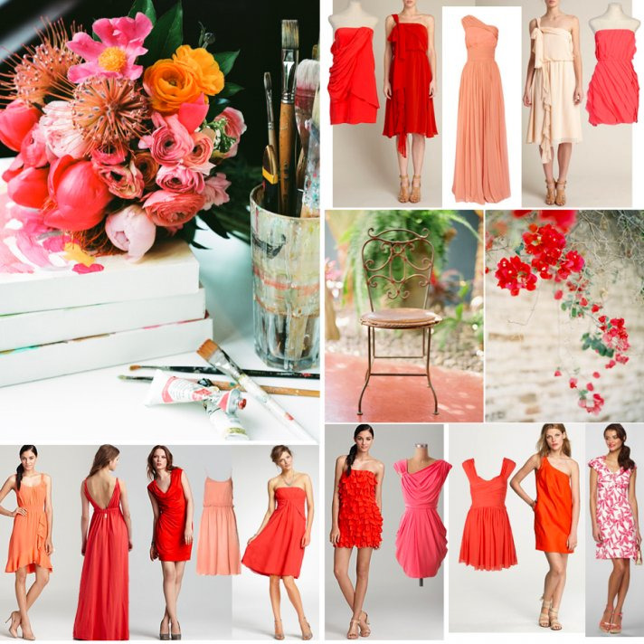 Coral and pink bridesmaids' dresses