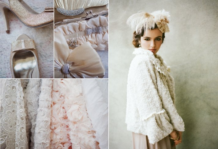 vintage inspired wedding accessories fur bridal cape sparkly wedding shoes
