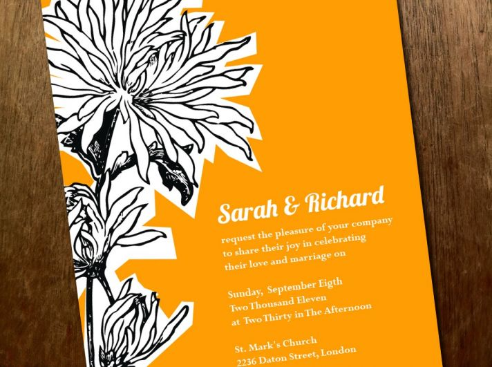 bright wedding invitations yellow black white