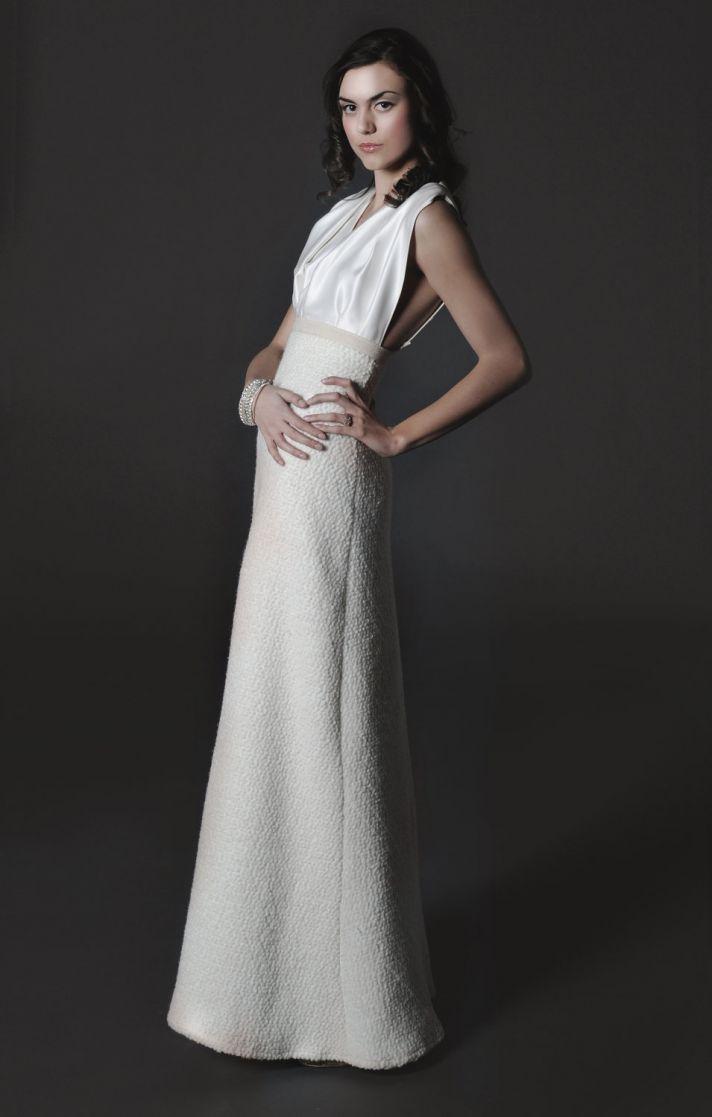 2012 halter wedding dress silk bodice winter wedding skirt