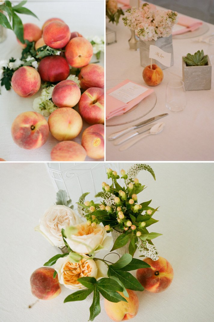 peaches for wedding reception centerpieces escort card holders 2