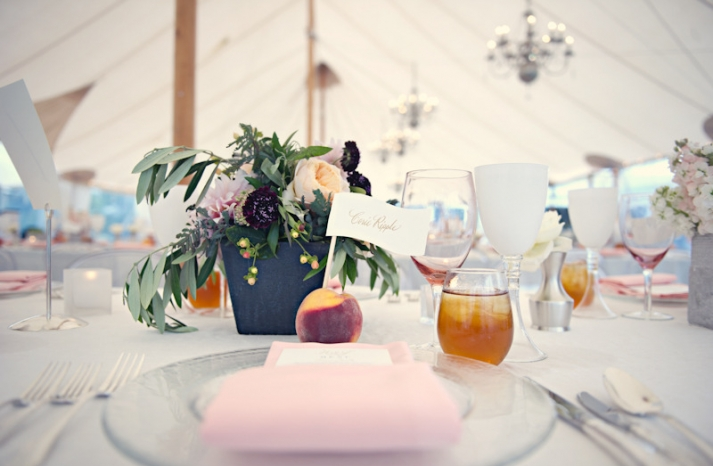 elegant real wedding outdoor reception under tent peach ivory light pink color palette