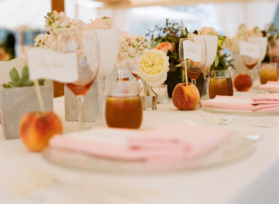 elegant real wedding outdoor reception under tent peach tablescape & Kissyu0027s blog: Wedding Ceremony and Reception tents offer clients ...