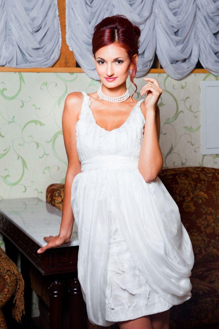 little white wedding reception dress wool scoop neck