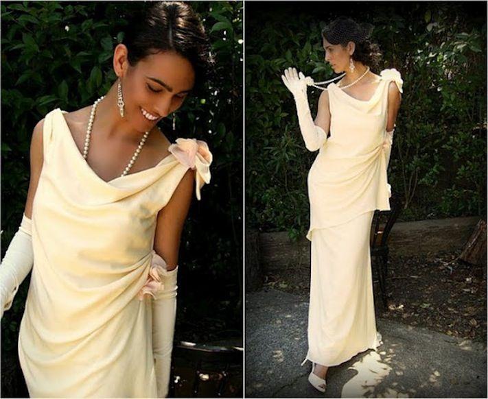 vintage-inspired wool wedding dress