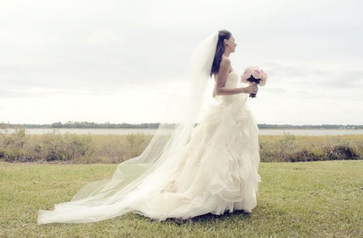 gorgeous bridal portrait vera wang ballgown wedding dress