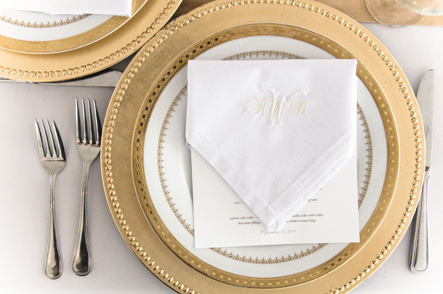 elegant gold wedding reception place setting Credit Tiger Lily Weddings. Vila s blog  The Scoop on Chelsea Clinton 39s Wedding Gown And