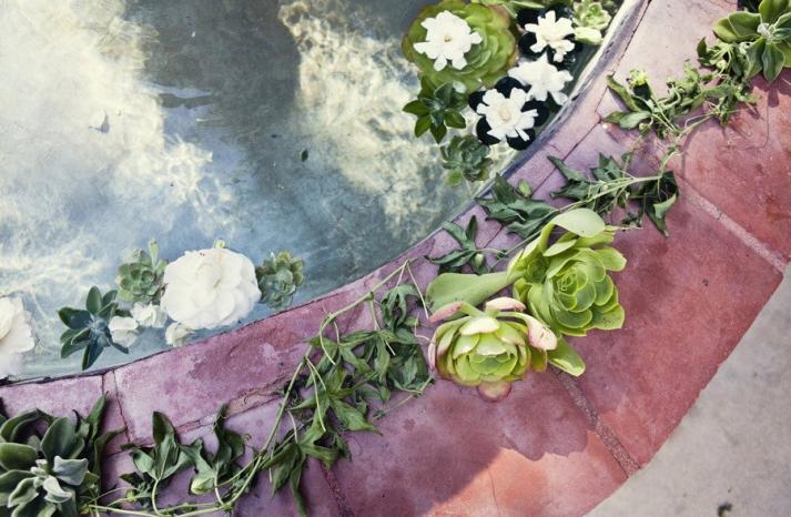 enchanted garden wedding outdoor ceremony venue succulents floral garland