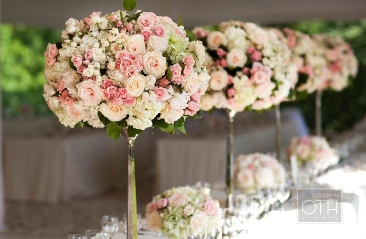 romantic garden wedding flowers pink ivory topiaries