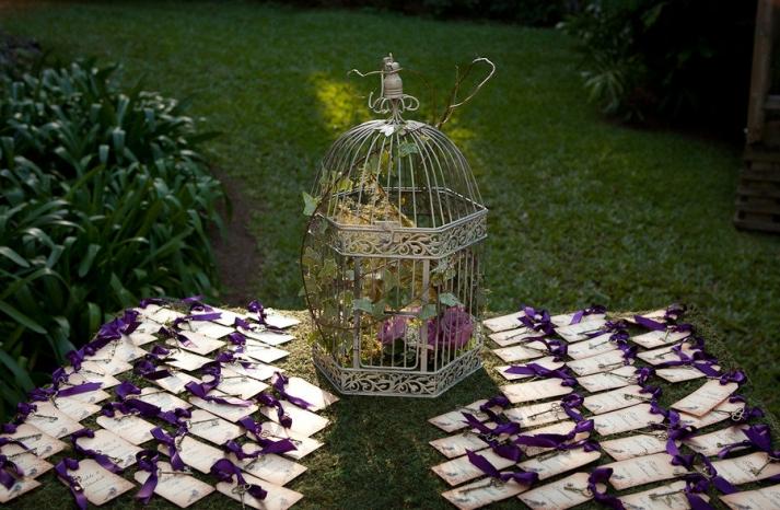 garden wedding escort card table purple white