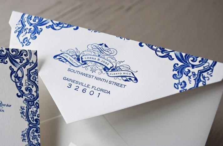 Blue Letterpress Puerto Rico Wedding Invitations21