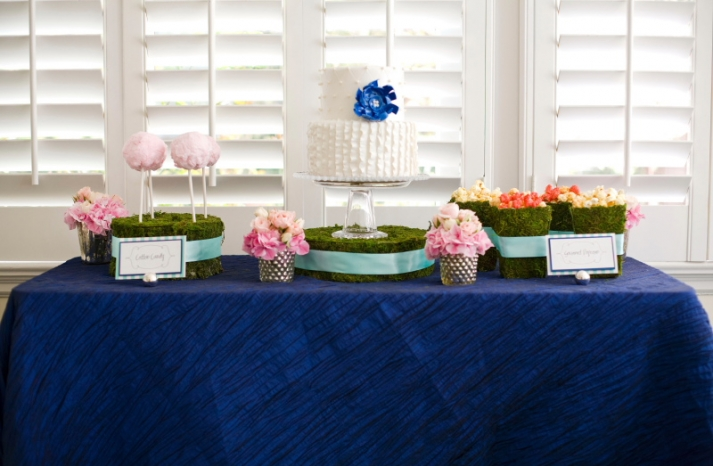 cobalt blue wedding reception dessert table wedding cake