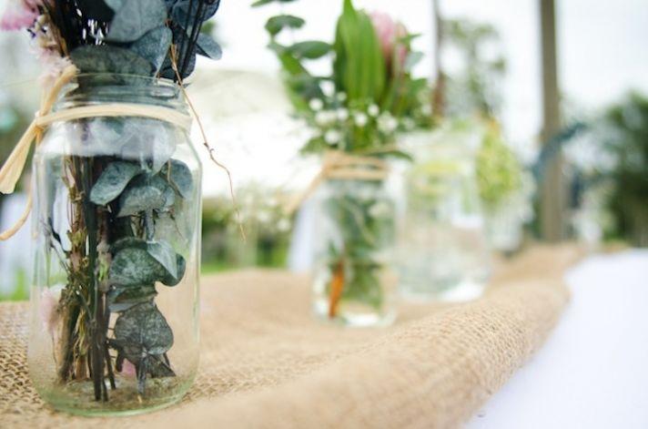 romantic outdoor wedding spring wedding inspiration mason jar centerpieces 2
