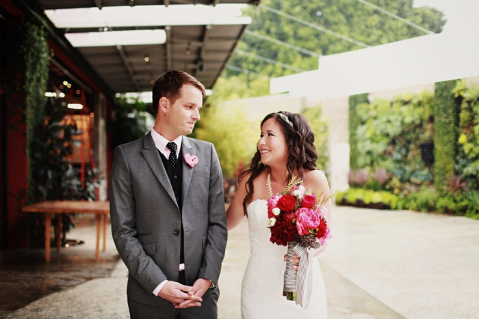 bride and groom on wedding day romantic outdoor wedding