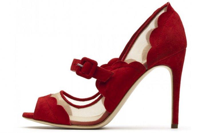 splurge worthy wedding shoes red illusion details