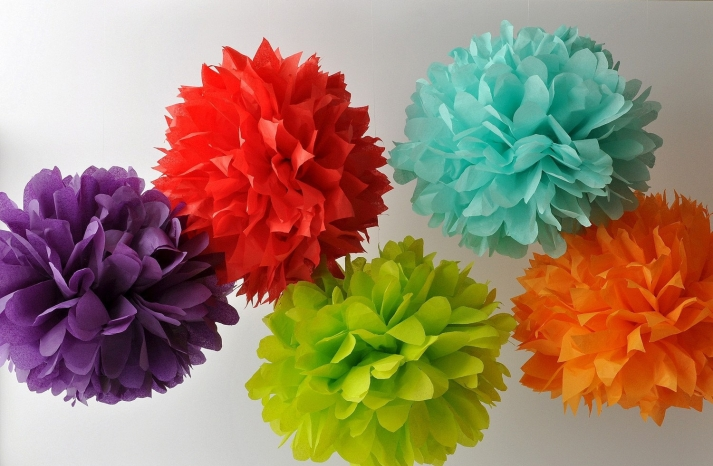 neon paper pom poms wedding decor