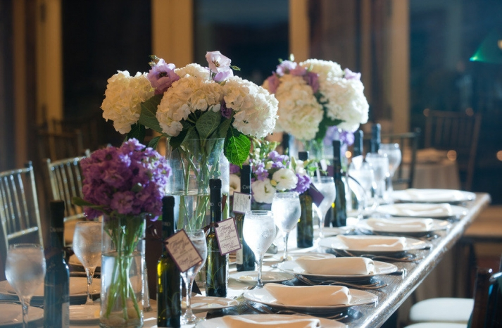 romantic winery wedding outdoor wedding venues ivory purple centerpieces