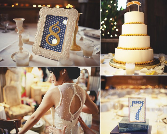 polka dot wedding inspiration navy yellow wedding