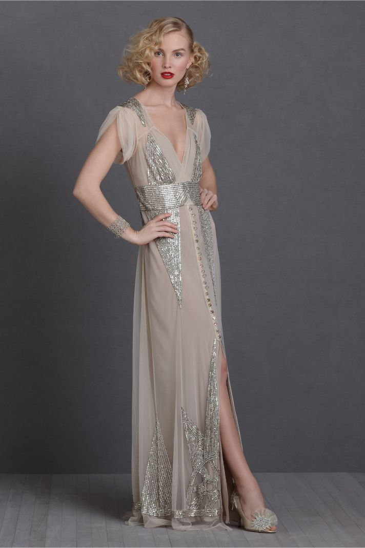 silver wedding dresses on Silver Gold Sequin Adorned Wedding Dress Bhldn Bridal Gown 2012