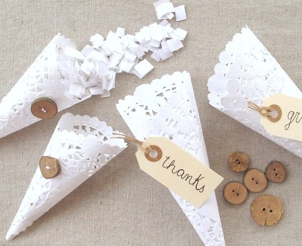 wedding ceremony exit lace confetti cones for wedding guests