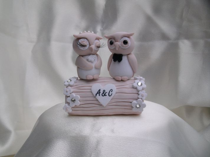 cute wedding cake toppers owl bride groom light pink