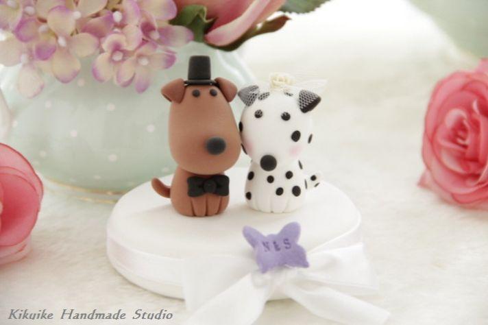 bride groom puppy wedding cake topper