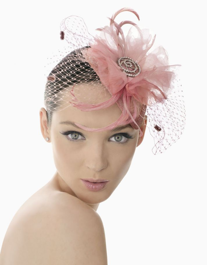 pink wedding headdress feathers net bridesmaid head chic