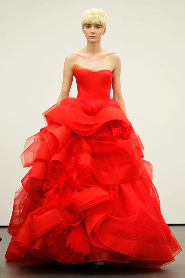 Vera wang sees red for spring 2013 brides for Red and white wedding dresses 2012