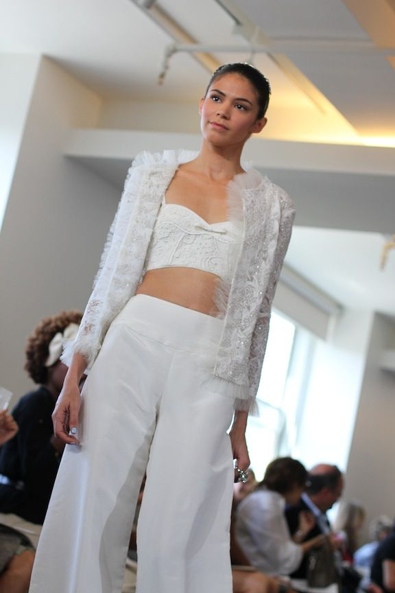 spring 2013 wedding dress Oscar de la Renta bridal gowns pants suit cropped top
