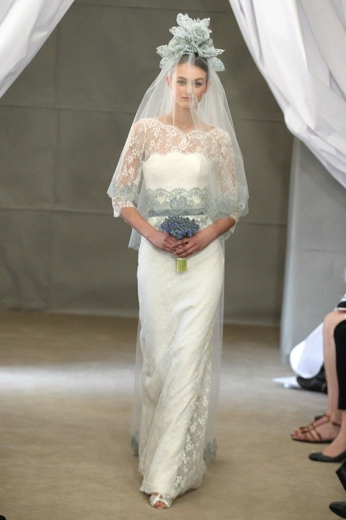 Spring 2013 bridal gowns Carolina Herrera wedding dress lace sheer sleeves