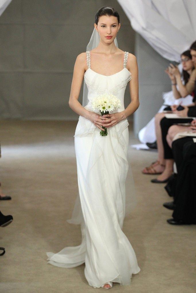 Spring 2013 bridal gowns Carolina Herrera wedding dress beaded spaghetti straps
