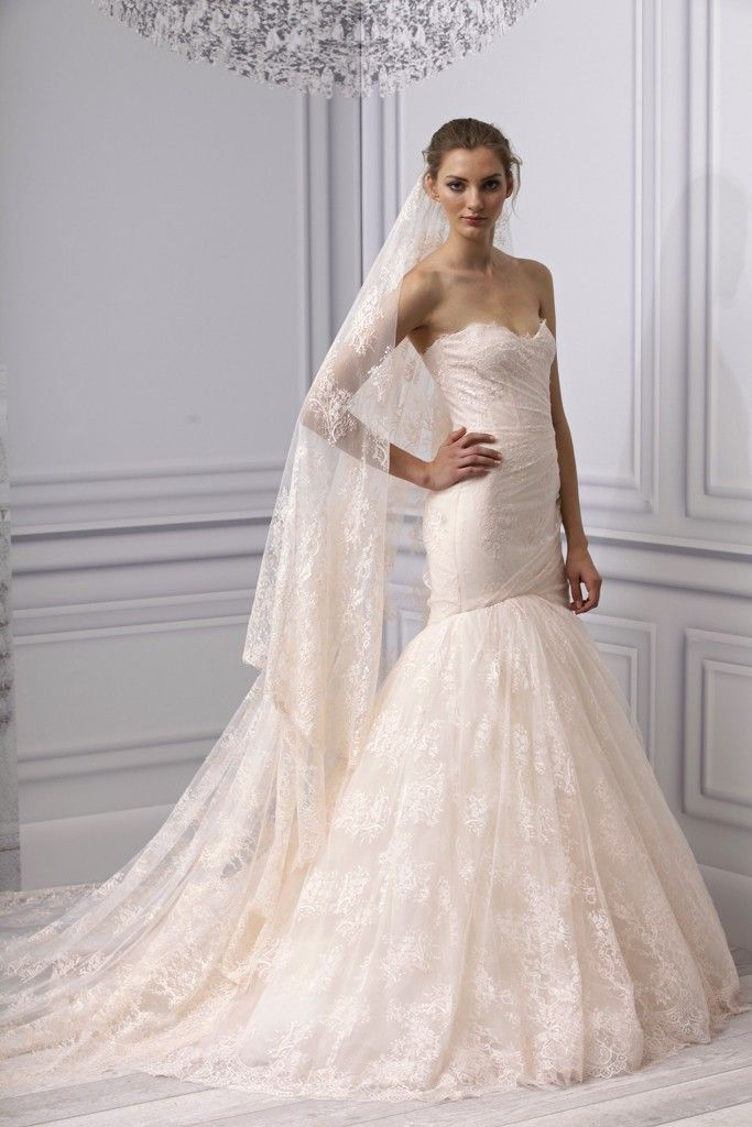 Spring 2013 wedding dress Monique Lhuillier bridal gown lace mermaid blush pink