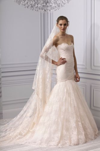 Black Lace Wedding Dress on Spring 2013 Wedding Dress Monique Lhuillier Bridal Gown Lace Mermaid