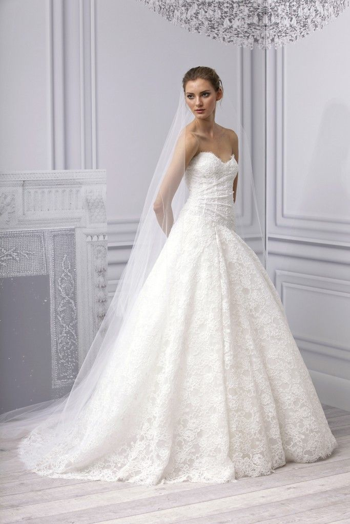 Spring 2013 wedding dress Monique Lhuillier bridal gown lace a line corset bodice