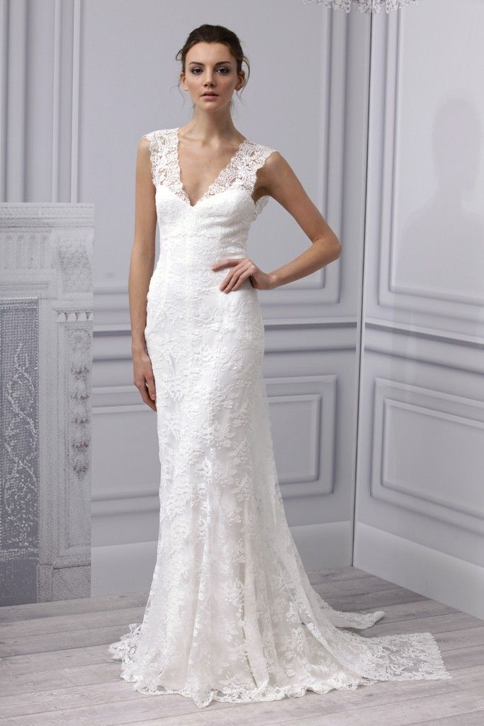 Spring 2013 wedding dress Monique Lhuillier bridal gown simple lace v ...