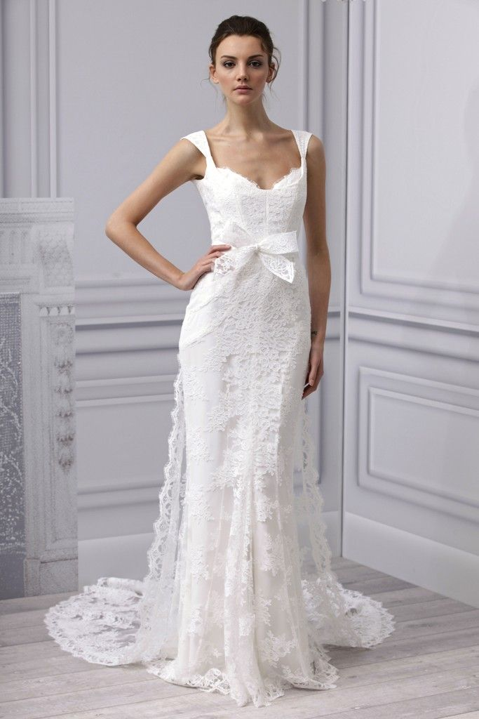Spring 2013 wedding dress Monique Lhuillier bridal gown lace modified mermaid train