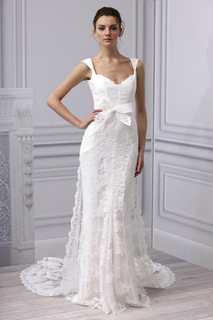 Spring 2013 wedding dress Monique Lhuillier bridal gown lace modified mermaid train