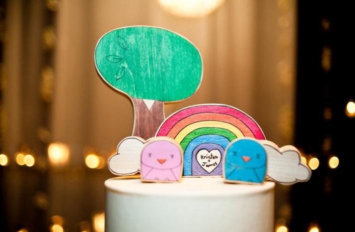 custom wedding cake toppers rainbow wood carvings