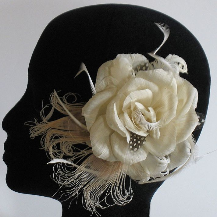 eco hemp wedding hair flower with lace feathers