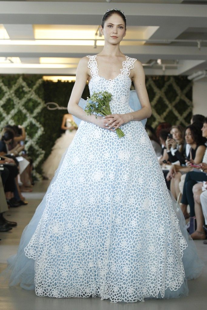 Spring 2013 bridal trend two tone dresses for Light blue and white wedding dresses