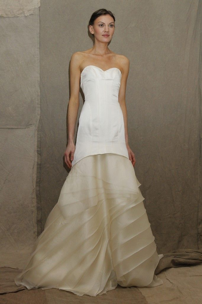 2013 wedding dress trend Lela Rose bridal gown two tone
