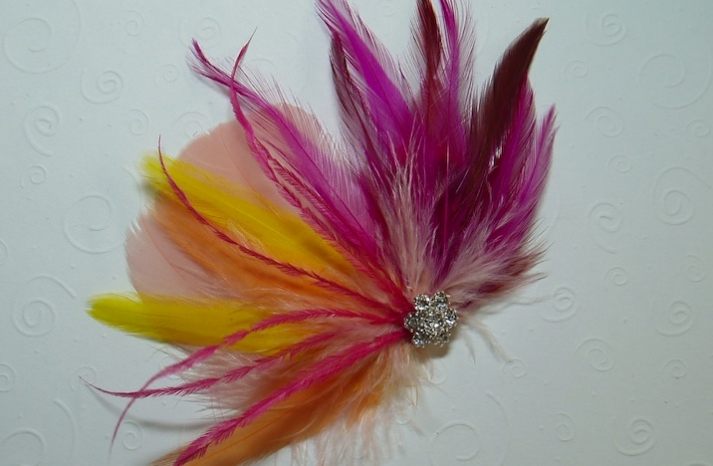 colorful bridal hair accessories wedding feather fascinator