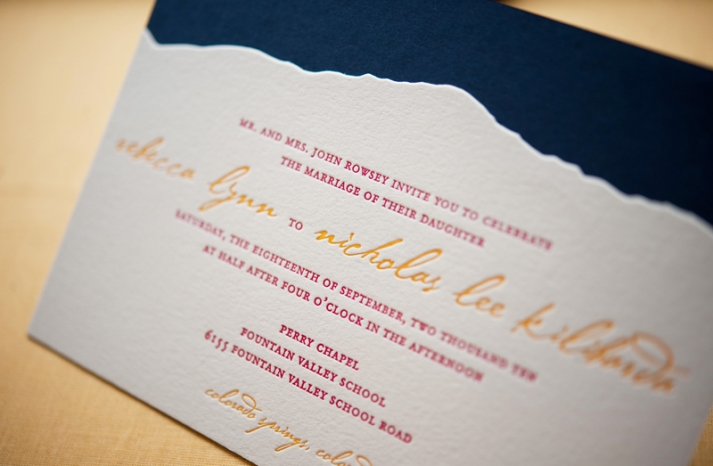rustic wedding invitations raspberry yellow letterpress calligraphy mountain backdrop
