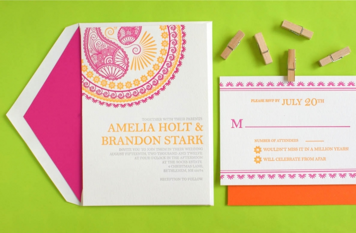 Indian Design Letterpress Wedding Invitations5