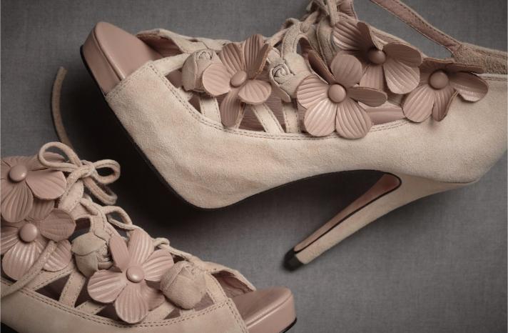 blush pink wedding shoes BHLDN bridal accessories heels