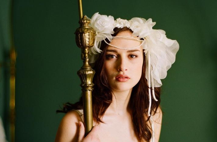 romantic bridal headpiece garden vintage bride