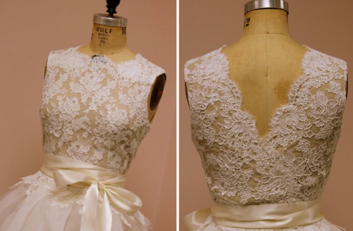 lace wedding dress top with nude lining