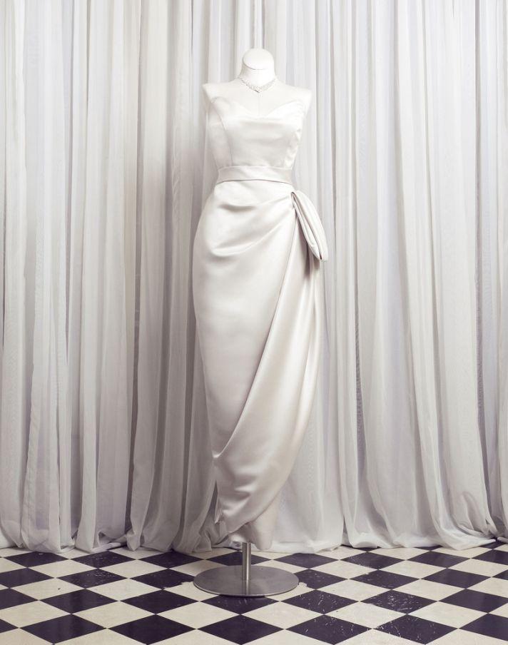 elegant vintage inspired wedding dress sweetheart draping detail