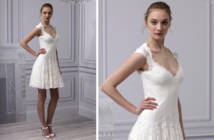 pretties little white wedding dresses spring 2013 Monique Lhuillier lace cap