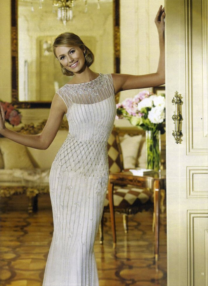 george clooney stacy keibler wearing pronovias 6